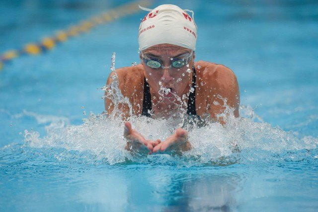 Trina Schaestz of Wisconsin Masters was #1 in the 40-44 women's 100 breast (Photo: Mike Lewis - Courtesy of U.S. Masters Swimming)