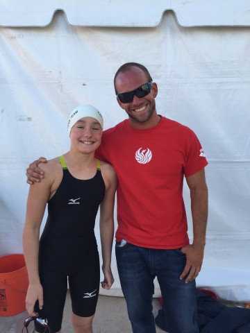 Miriam Sheehan with her coach, Travis Anderson, at Far Westerns after 50 fly NAG