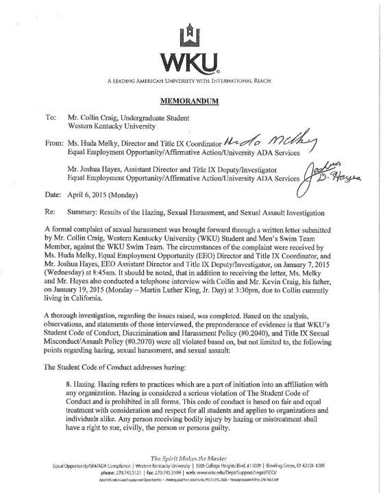 Hazing Accusations in Western Kentucky Swim Program Prompts Title IX Investigation