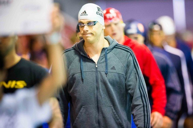 Cesar Cielo headed to the blocks in the 50 free finals (photo: Mike Lewis, Ola Vista Photography)