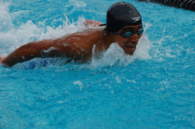 Kennedy's Rodrigo Baca won the 100 fly at CIFSS Division III. Photo: Anne Lepesant