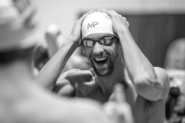 Michael Phelps has a laugh with Tyler Clary before the start of the 200 fly (photo: Mike Lewis, Ola Vista Photography)