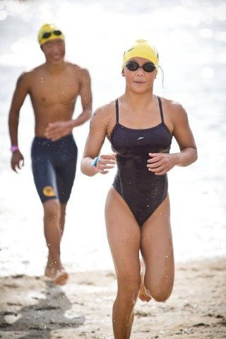 2nd Annual SoCal Cup Open Water Swim 5/17/15, Castaic Lake, CA. Canyons Aquatic swimmer Angie Wu sprints to the finish line following a one mile race.
