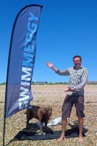 Swimmergy's Rod Hart with faithful friend Trigger along the shores of Brighton (Photo courtesy of Rod Hart)