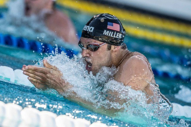 Cody Miller in the final of the 100 breaststroke in Santa Clara (photo: Mike Lewis, Ola Vista Photography)
