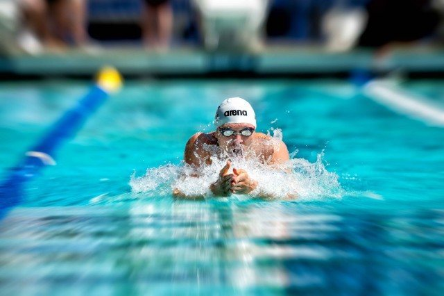 Cody Miller prelim swim of the 100 breaststroke at the Arena Pro Swim Series Santa Clara (photo: Mike Lewis, Ola Vista Photography)
