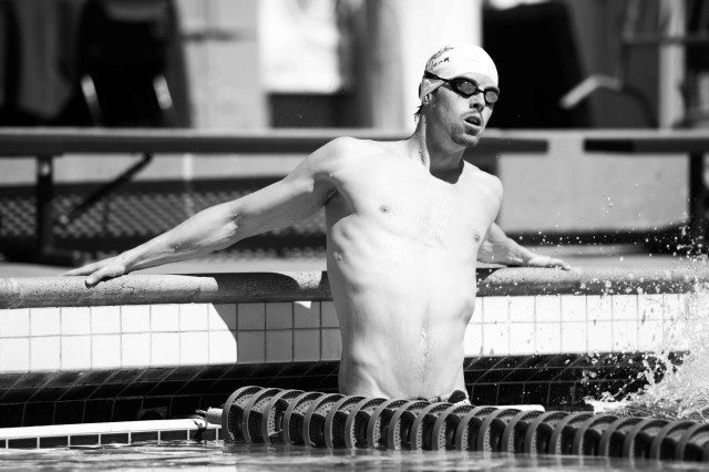 Connor Jaeger before the men's 800 final at the Arena Pro Swim Series Santa Clara (photo: Mike Lewis, Ola Vista Photography)