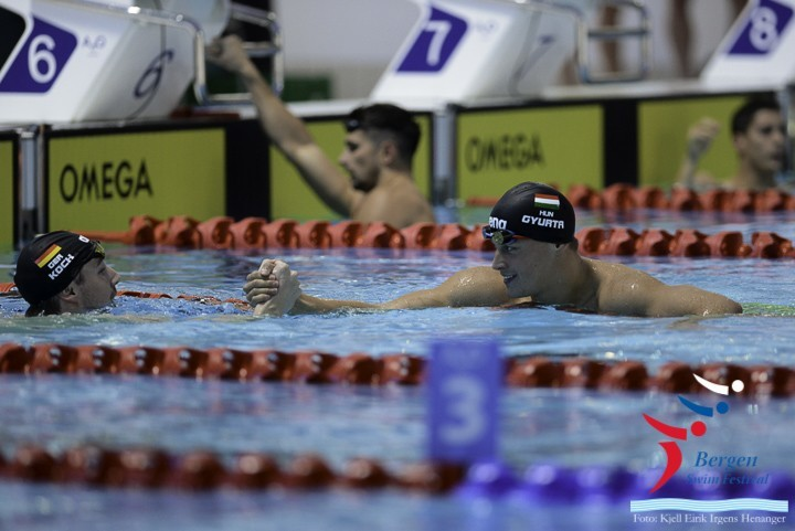 Daniel Gyurta gets gratulations from Marco Koch at Bergen Swim Festival in Norway after his 200m breaststroke win.