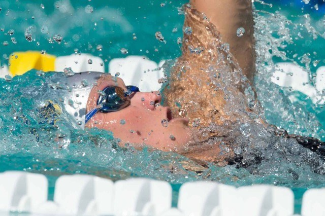 Elizabeth Pelton prelims 200 backstroke 2015 Santa Clara Pro Swim (photo: Mike Lewis, Ola Vista Photography)