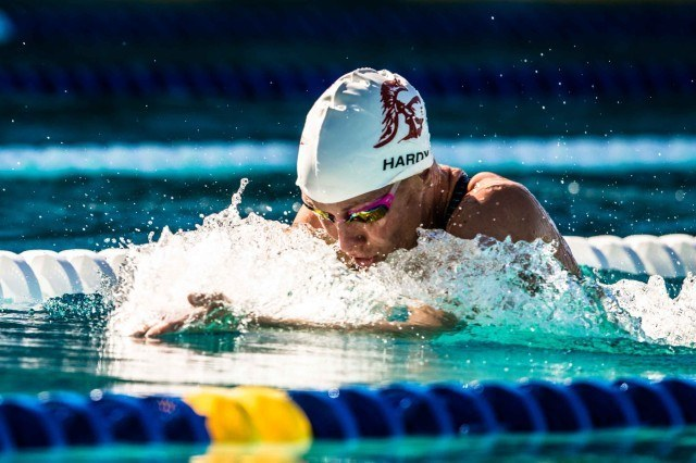 Jessica Hardy in the finals of the 100 breast (photo: Mike Lewis, Ola Vista Photography)
