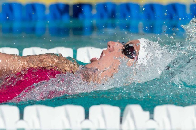 Katinka Hosszu 200 back prelims 2015 Santa Clara Pro Swim (photo: Mike Lewis, Ola Vista Photography)