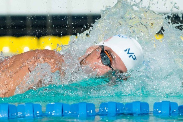 Michael Phelps in the 200 free prelims in Santa Clara (photo: Mike Lewis, Ola Vista Photography)