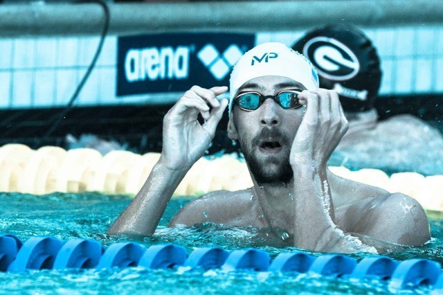 Michael Phelps takes teh win in the 200IM (photo: Mike Lewis, Ola Vista Photography)