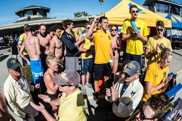 Wolverine Aquatics gets pumped before finals (photo: Mike Lewis, Ola Vista Photography)