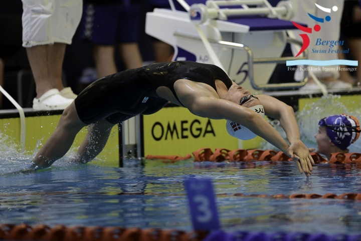Sarah Bro (DEN) in the 200m backstroke prelims at Bergen Swim Festival in Norway