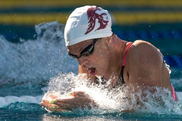 Yulia Efimova wins the 100 breaststroke at the Arena Pro Swim in Santa Clara (photo: Mike Lewis, Ola Vista Photography)