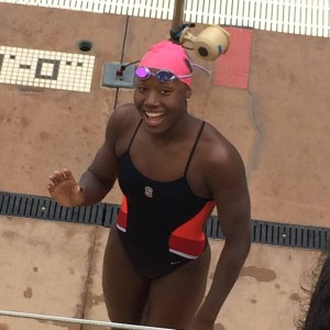 Simone Manuel, freshman year, Stanford vs Texas. Photo courtesy of Sharron Manuel
