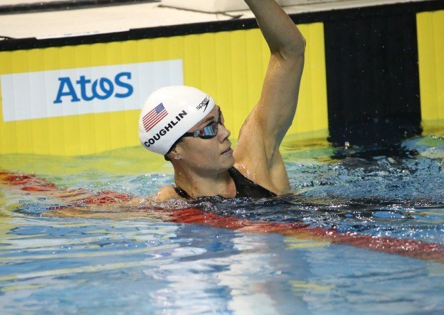 Natalie Coughlin - Day 1 prelims Toronto 2015 Pan Am Games after breaking games record 53.85