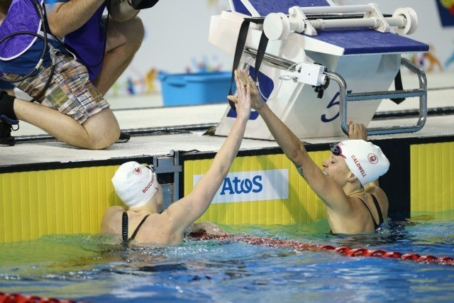 Toronto 2015 Pan American Games - Hilary Caldwell Dominique Bouchard 1-2 Canada finish 200 back