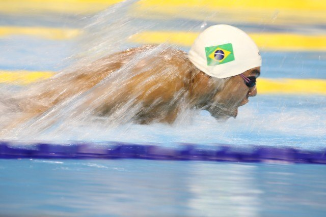 Toronto -- Brazil's Felipe Franca Da Silva swam thebutterfly portion of the 4x100m medley relay. Brazil won in a time of 3:32.68. July 18, 2015.