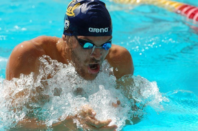 Cal's Chuck Katis in 200 breast prelims. Photo: Anne Lepesant