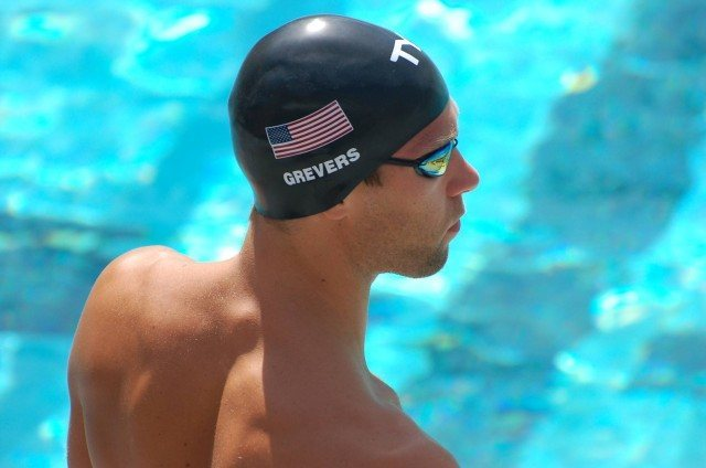 Matt Grevers of Tucson Ford at start of 50 free prelims. Photo: Anne Lepesant