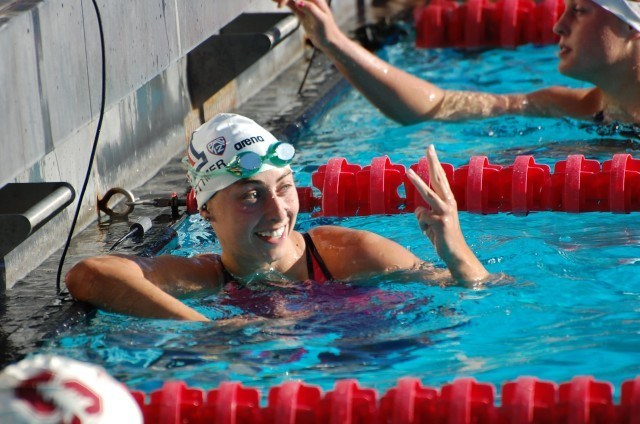 Tucson Ford's Emma Schoettmer after winning 200 breast. Photo: Anne Lepesant