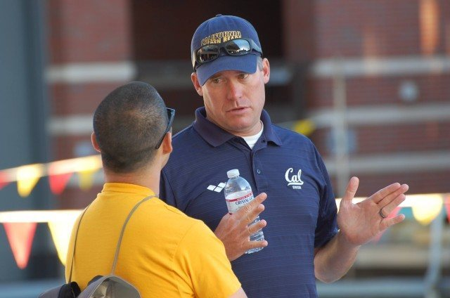 Cal coach Dave Durden with volunteer assistant, Michael Wong. Photo: Anne Lepesant