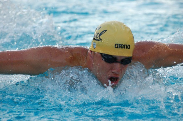 Adam Hinshaw of Cal in 400 IM final. Photo: Anne Lepesant
