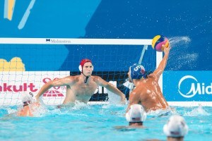 Alex Giorgetti of Italy scores his team's third goal on a penalty shot against the U.S.A. in preliminary round of the water polo competition at the 2015 FINA World Championships held in Kazan, Russia.