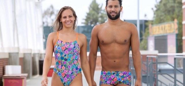 Funky couple Omar Pinzon and Raminta Dvariskyte wearing their latest Funky Trunks and Funkita swimwear. (Courtesy of Funky Trunks)