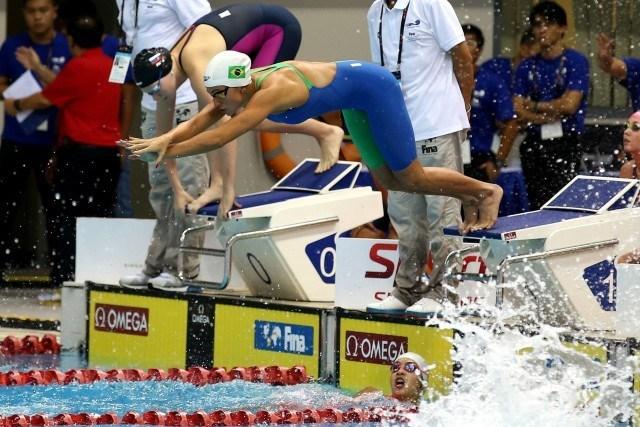 Revezamento 4x200 metros livre. Campeonato Mundial de Natacao no OCBC Aquatic Centre. 25 de agosto de 2015, Cingapura. Foto: Satiro Sodre/SSPress