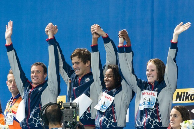 Ryan Lochte, Nathan Adrian, Simone Manuel, and Missy Franklin break the World Record in the mixed 4x100 free relay at 2015 FINA World Championships  (courtesy of Tim Binning, theswimpictures.com)