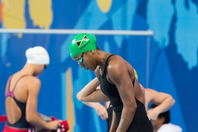 Alia Atkinson (JAM) qualified 2nd for the 50m breaststroke final  at 2015 FINA World Championships (courtesy of Tim Binning, theswimpictures.com)