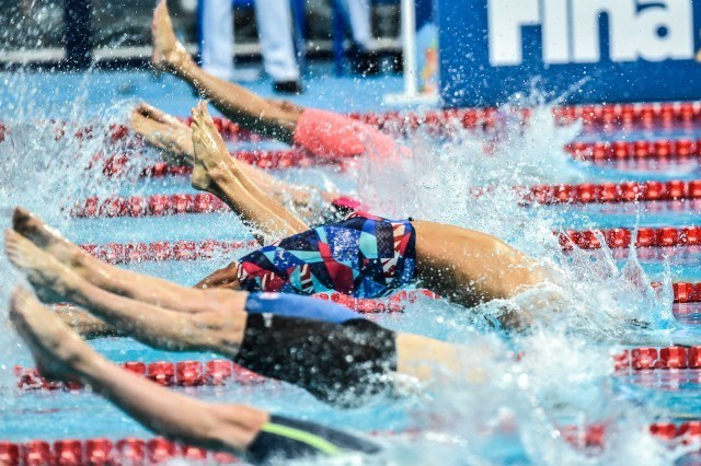 Matt Grevers in the semis of the 100 back at the 2015 FINA world championships Kazan Russia (photo: Mike Lewis, Ola Vista Photography)