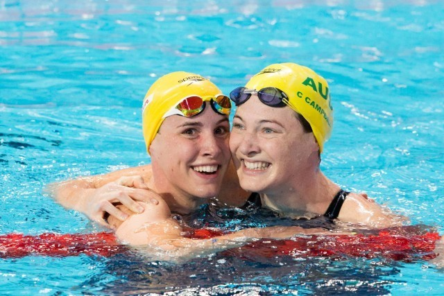 Bronte Campbell (AUS) wins gold and her older sister, Cate Campbell (AUS), bronze, in women's 100m free at 2015 FINA World Championships  (courtesy of Tim Binning, theswimpictures.com)