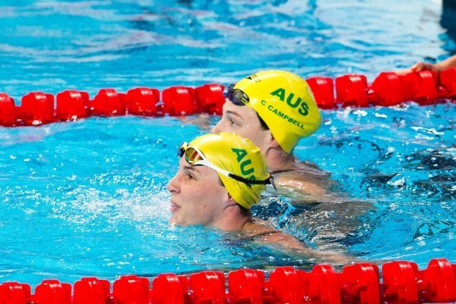 Bronte Campbell (AUS), World Champion in women's 50m freestyle, and her sister, Cate Campbell, who finished 4th. 2015 FINA World Championships  (courtesy of Tim Binning, theswimpictures.com)