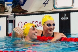 Australia's Cate and Bronte Campbell cruise into the women's 100m freestyle semi's on day 5, (courtesy of Tim Binning, theswimpictures.com)