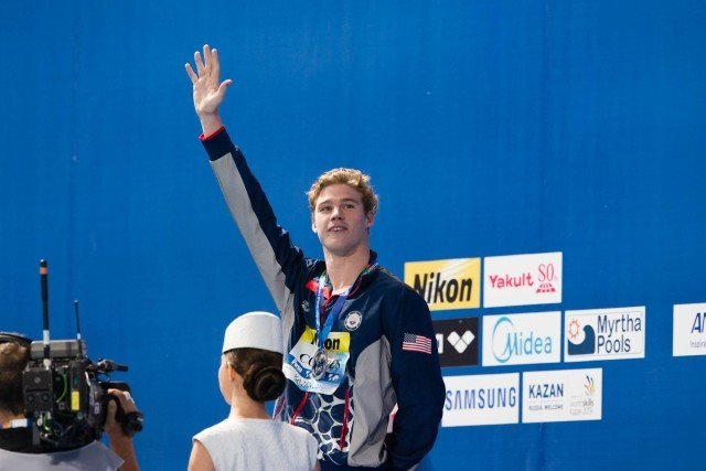 Kevin Cordes (USA) wins silver medal in men's 200m breaststroke at 2015 FINA World Championships  (courtesy of Tim Binning, theswimpictures.com)