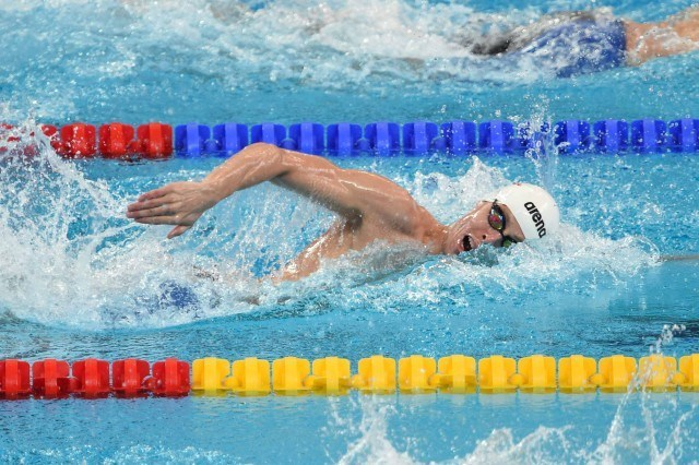 Connor Jaeger in the prelims of the 800 free at the 2015 FINA world championships Kazan Russia (photo: Mike Lewis, Ola Vista Photography)