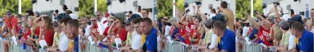 Lindsay Vrooman's teammates cheering her on in the 400m freestyle (courtesy of Rafael Domeyko)