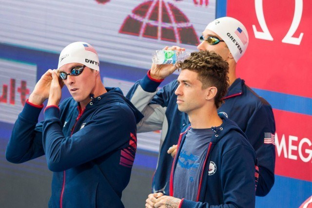 Conor Dwyer, Anthony Ervin, Matt Grevers,  2015 World Championships  (courtesy of Tim Binning, theswimpictures.com)