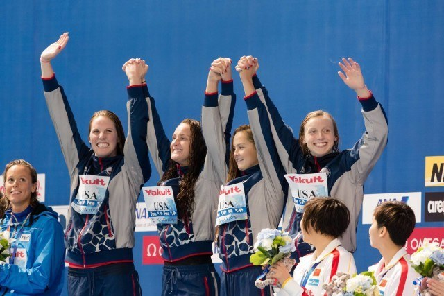 Left to right: Team USA's Missy Franklin, Leah Smith, Katie McLaughlin, and Katie Ledecky, World Champions in the 4x200m freestyle relay. 2015 World Championships  (courtesy of Tim Binning, theswimpictures.com)