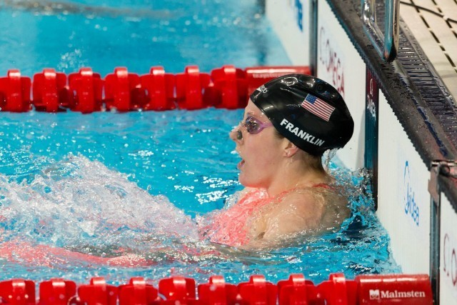 Missy Franklin (USA) with 3rd-fastest time out of semi-finals of women's 200m backstroke at Micah Lawrence (USA), silver medalist in women's 200m breaststroke at 2015 FINA World Championships  (courtesy of Tim Binning, theswimpictures.com)