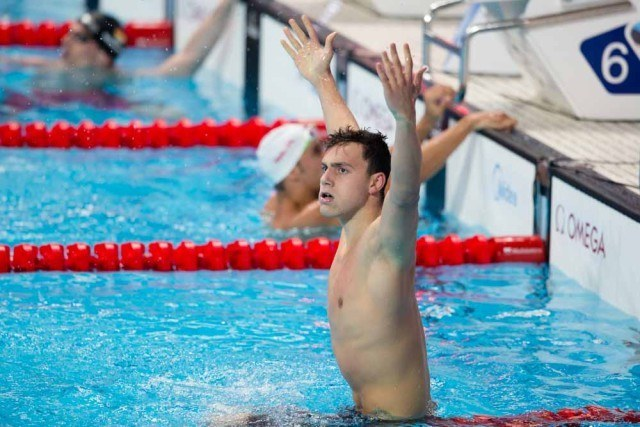 James Guy, GBR. Men's 200 freestyle  World Champion. Day 3 of 2015 World Championships. (courtesy of Tim Binning, theswimpictures.com)