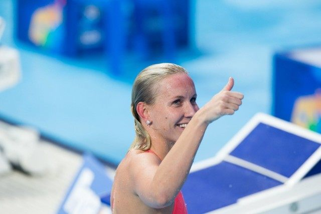 Jessica Hardy (USA) posted 3rd time in semi-finals of women's 50m breast at 2015 FINA World Championships  (courtesy of Tim Binning, theswimpictures.com)