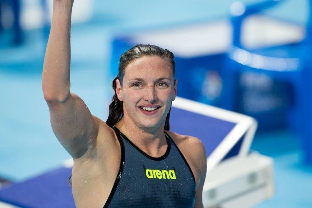 Katinka Hosszu (HUN) goes 4:30.39 to win women's 400m IM, completing her sweep of World Championship titles in the IM. 2015 FINA World Championships  (courtesy of Tim Binning, theswimpictures.com)