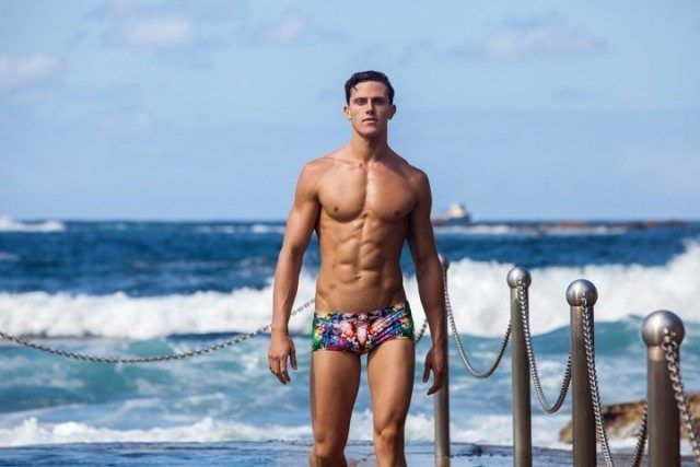 Herzog wears Funky Trunks in Jungle Boogie at Australia's North Coogee Beach in Sydney