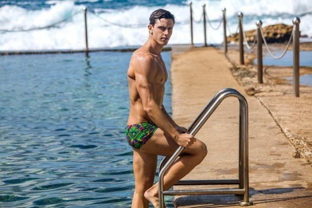 Herzog wears his Funky Trunks Tribal Fire for the latest Dividing Lines photo shoot.