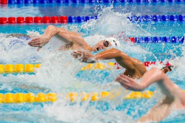 Connor Jager leads the way on day 3 in the mens 800 freestyle prelims, (courtesy of Tim Binning, theswimpictures.com)